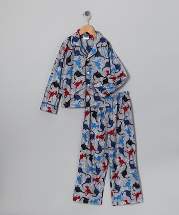 Gray Dino Flannel Pajama Set - Boys