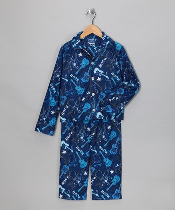 Blue Guitar Rock Flannel Pajama Set - Toddler