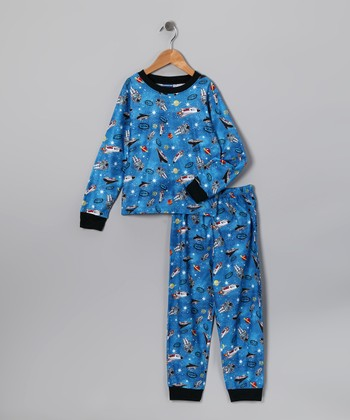Blue Space Flannel Pajama Set - Toddler & Boys