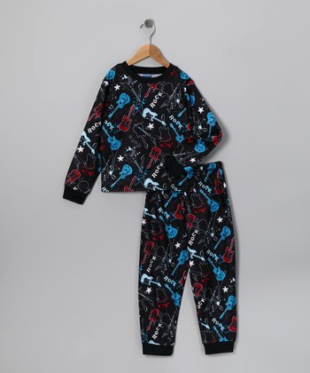 Black Guitar Rock Flannel Pajama Set - Toddler