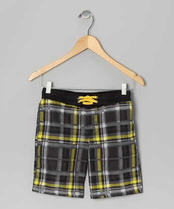 Black & Yellow Plaid Swim Trunks - Boys
