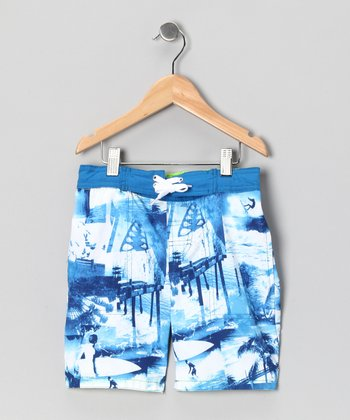Blue Tonal Scenic Swim Trunks - Toddler & Boys