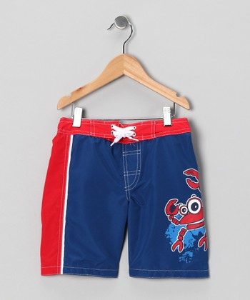 Blue & Red Crab Swim Trunks - Boys