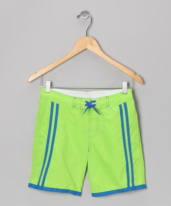 Green & Blue Stripe Swim Trunks - Boys