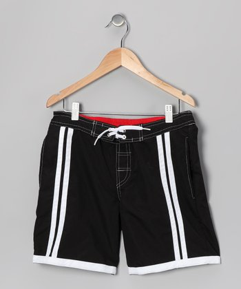 Black & White Stripe Swim Trunks - Boys