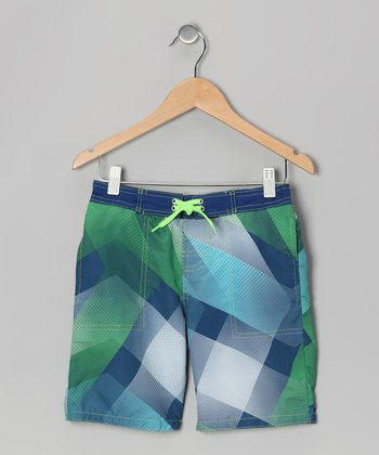 Blue & Green Plaid Swim Trunks - Toddler & Boys