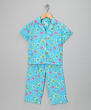 Blue Heart Flannel Pajama Set - Girls