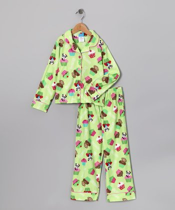 Lime Cupcake Flannel Pajama Set - Girls