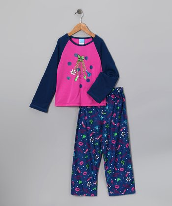 Navy & Pink 'Glamour Girl' Pajama Set - Toddler