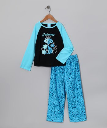 Blue 'Princess' Pajama Set - Girls