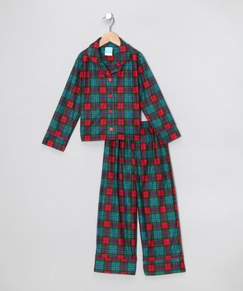 Red & Green Plaid Flannel Pajama Set - Toddler