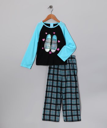 Turquoise Plaid Sneaker Pajama Set - Girls
