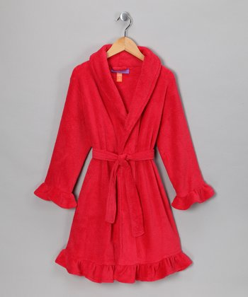 Red Coraline Fleece Robe - Girls