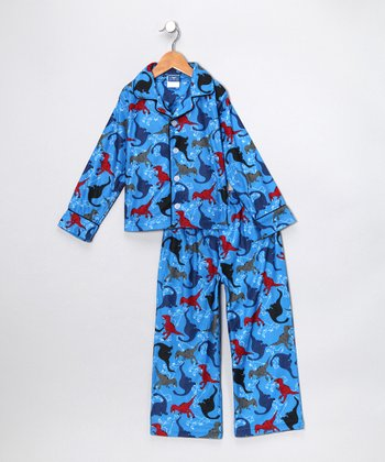 Blue Dino Flannel Pajama Set - Boys