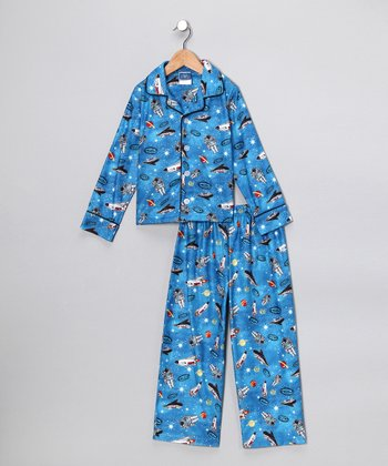 Blue Space Flannel Button-Up Pajama Set - Boys