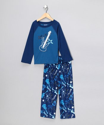 Blue Guitar Pajama Set - Boys