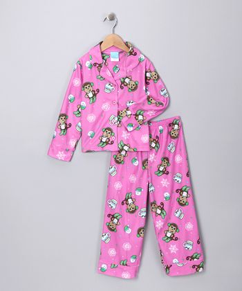 Pink Monkey Flannel Pajama Set - Girls