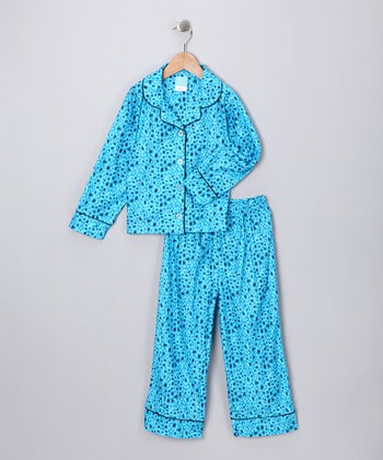 Blue Cheetah Flannel Pajama Set - Girls