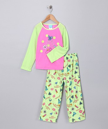 Lime & Pink Pajama Set - Toddler & Girls