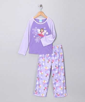 Lilac Fairy Flannel Pajama Set - Girls
