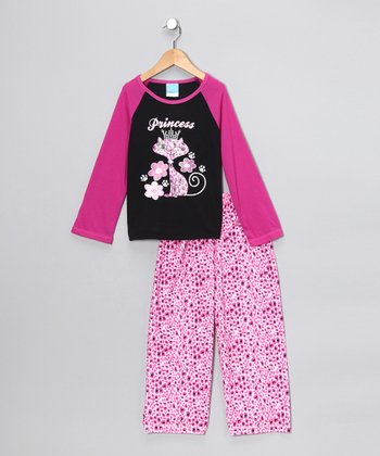 Pink & Black 'Princess' Pajama Set - Girls