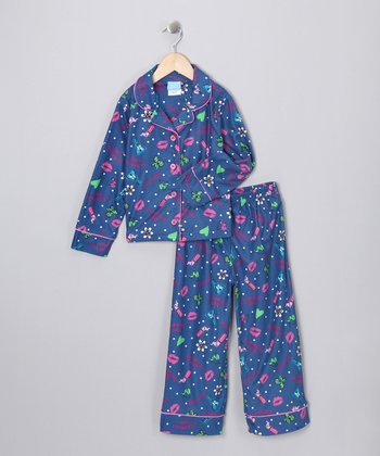 Navy Glamour Flannel Pajama Set - Girls