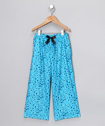 Blue Cheetah Flannel Pajama Pants - Girls