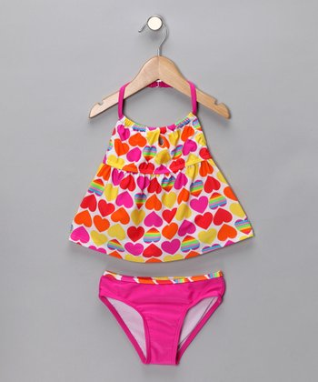 Hot Pink & Yellow Heart Tankini - Girls