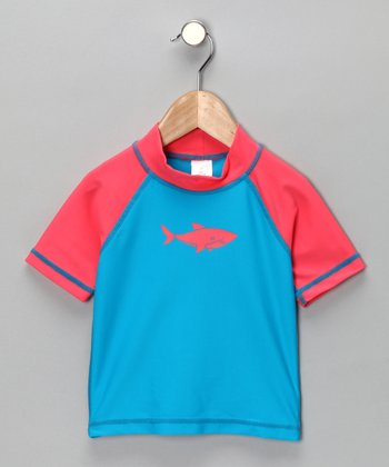 Red & Blue Shark Rashguard - Toddler & Boys