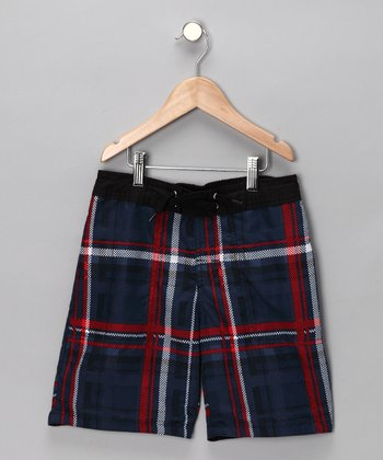 Blue & Red Plaid Boardshorts - Boys