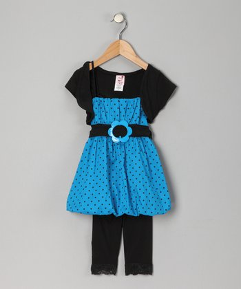Turquoise Polka Dot Bubble Tunic Set - Infant, Toddler & Girls
