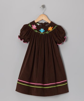 Brown Owl Corduroy Bishop Dress - Infant, Toddler & Girls
