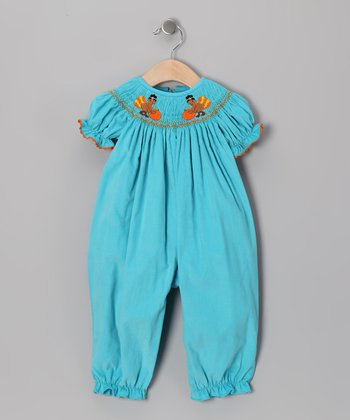 Turquoise Turkey Corduroy Bubble Playsuit - Infant