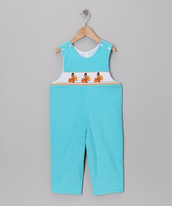 Turquoise Turkey Corduroy Overalls - Infant