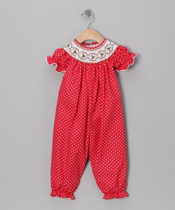 Red Mistletoe Bubble Playsuit - Infant
