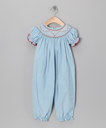Light Blue Corduroy Bubble Playsuit - Infant