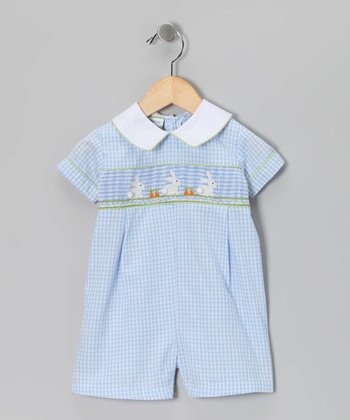 Candyland Light Blue Bunny Smocked Romper