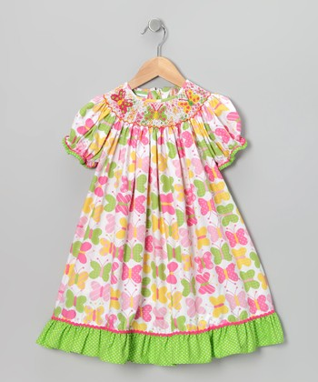 Pink Butterfly Bishop Dress - Toddler