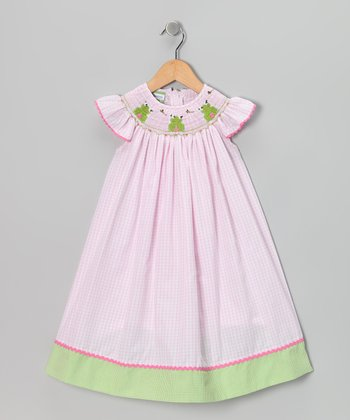 Pink Frog Angel-Sleeve Dress - Infant