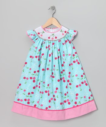 Blue Cherry Angel-Sleeve Dress - Toddler