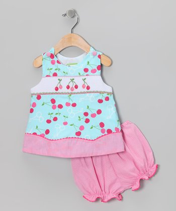 Candyland Blue Cherry Smocked Jumper & Pink Bloomers - Infant
