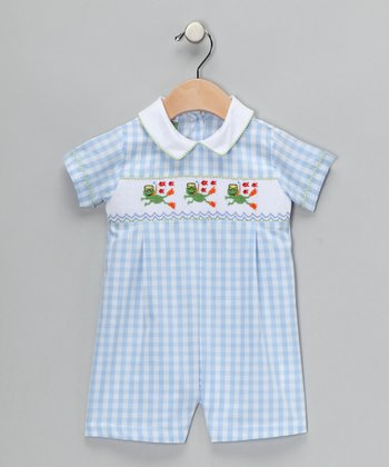 Light Blue Frog Romper - Infant