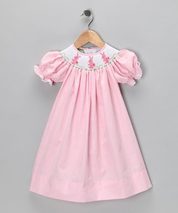 Pink Bunny Bishop Dress - Girls