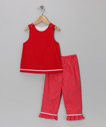 Red Corduroy Top & Pants - Girls