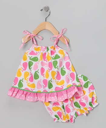 Pink Whale Tie-Sleeve Top & Bloomers - Infant