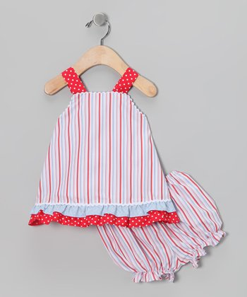 Red Whale Stripe Jumper & Bloomers - Infant