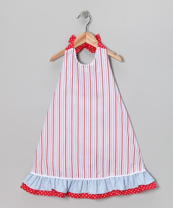 Red Stripe Halter Dress - Infant