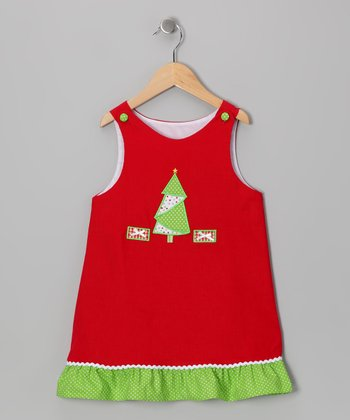 Red Christmas Tree Corduroy Jumper - Infant, Toddler & Girls