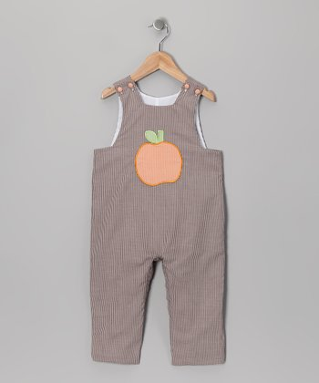Brown Pumpkin Overalls - Infant