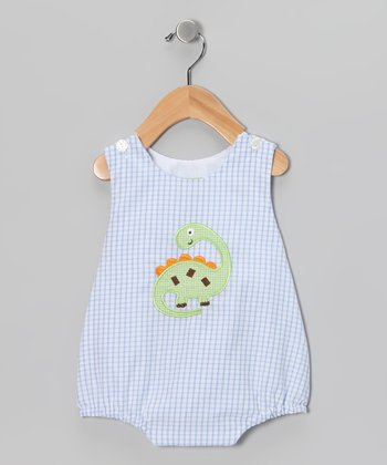 Blue Gingham Dino Bubble Bodysuit - Infant